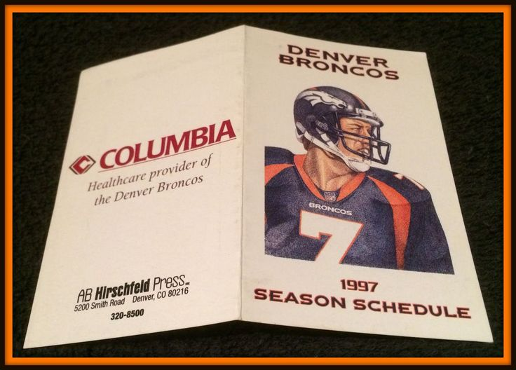 1997 DENVER BRONCOS COLUMBIA FOOTBALL POCKET SCHEDULE ELWAY FACSIMILE ON COVER #Pocket #SCHEDULE