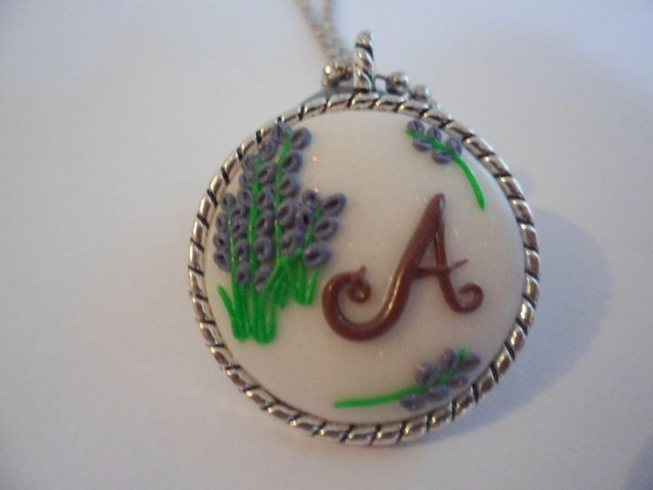 Initial Necklace, handmade Necklace, craft Necklace, letters Necklace, polymer…