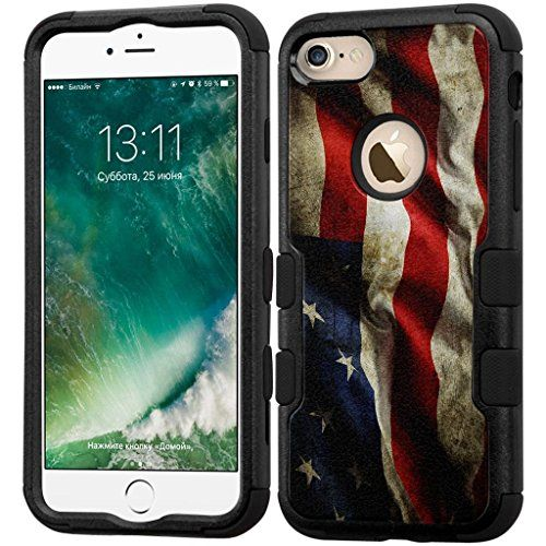 Armatus Gear HYPC_APIP7_TUFF_BLK_AMERIFLAG_35718277 Fishing Series Phone Case Hybrid Protective Cover for Apple iPhone 7 Case - Black/American Flag