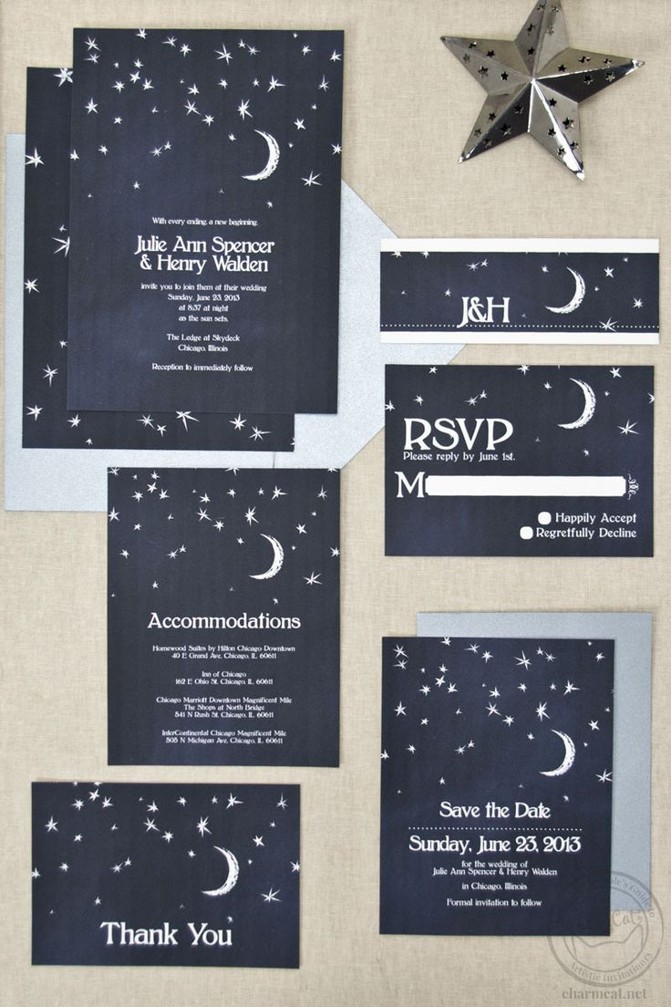 Wedding invitations that feature the night sky! A sky full of stars and a crescent moon drawn on a chalkboard background. Customize the fonts and colors to match your theme!