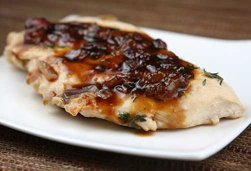 Balsamic Chicken: apricot jam, chicken breasts, black pepper, balsamic ...