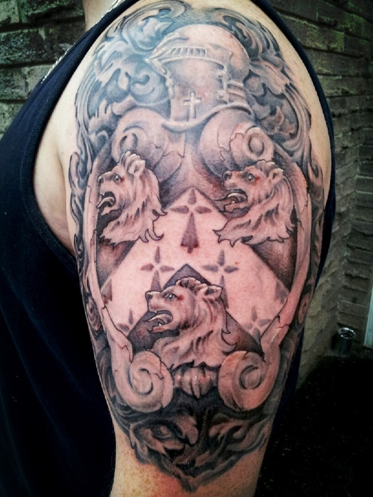 First set of ink family coat of arms tattoo cooltattoos for Badass first tattoos