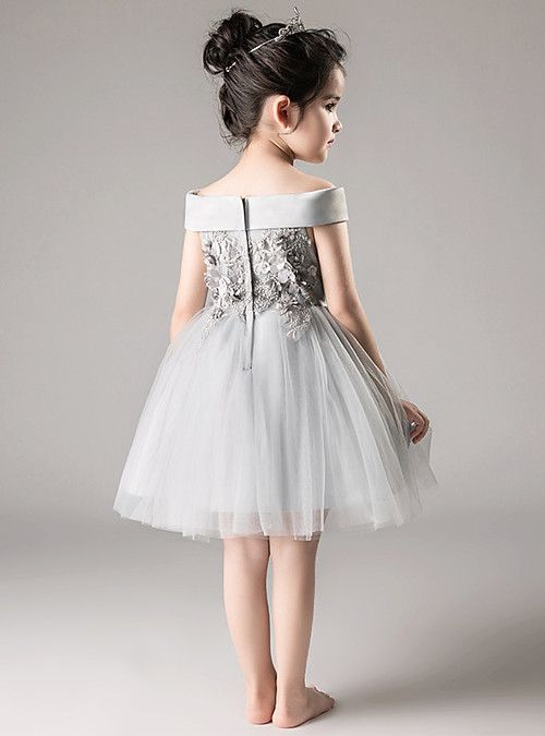 57723e561f1c A-Line / Princess Medium Length Flower Girl Dress - Tulle Sleeveless Off  Shoulder with Appliques / Tiered by LAN TING Express 2019 - AU $110.98