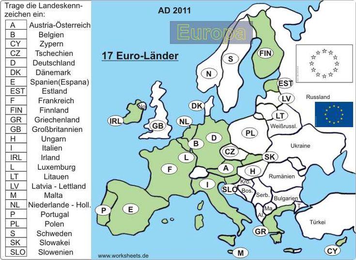 17 euro l nder in europa arbeitsblatt und l sungsfolie lernen school euro und worksheets. Black Bedroom Furniture Sets. Home Design Ideas