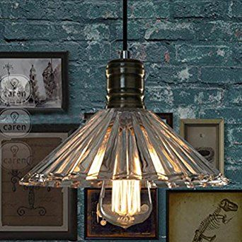 BAYCHEER HL370937 Industrial Retro Vintage styly Cone Ribbed Glass Shaded Mini Pendant Lighting Lamp Chandelier use E26/27 Bulb1 light - - Amazon.com