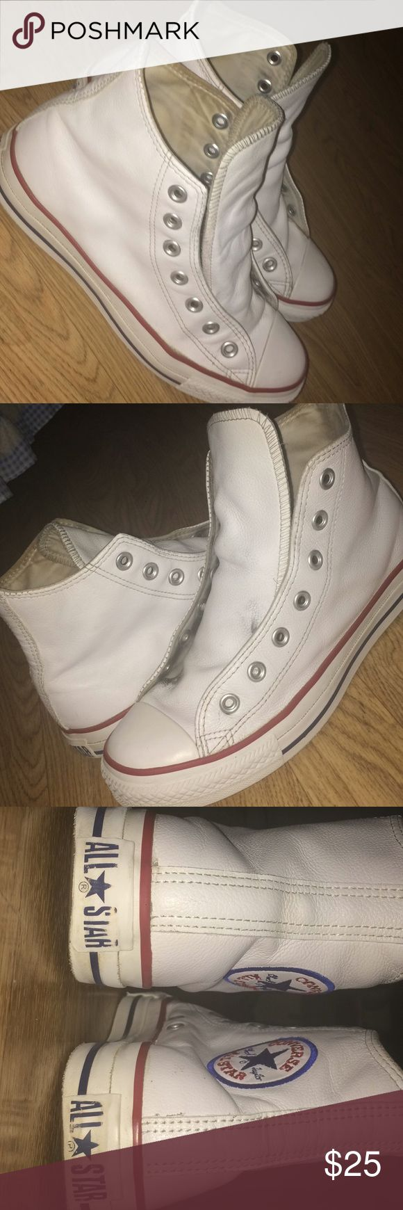 Converse High Tops Today we have some white authentic converse high tops. Only worn a few times but I'm no longer interested in the style so I decided to sell. Almost like new, 8.5/10 condition. **DISCLAIMER: THESE ARE LEATHER** Converse Shoes Sneakers