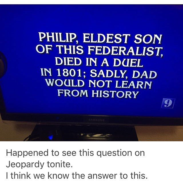 "At what point will Alex Trebek say, ""Stop with the Hamilton questions. They all know the answers now.""?"
