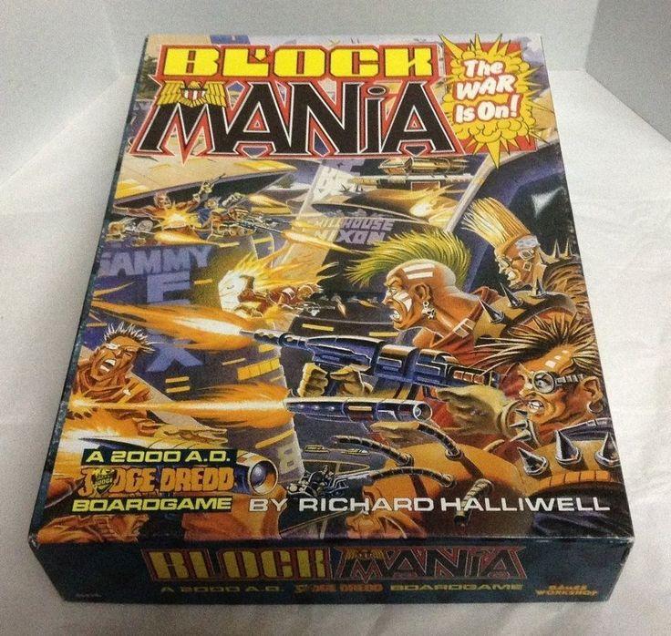 BLOCK MANIA WITH MEGA MANIA AND EXTRAS 1987 GAME WORKSHOP JUDGE DREDD BOARD GAME #gamesworkshop