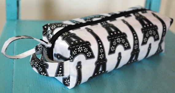 $18 Pencil Case in cotton laminate fabrics-- Eiffel Tower print shown here-- lined in waterproof white nylon