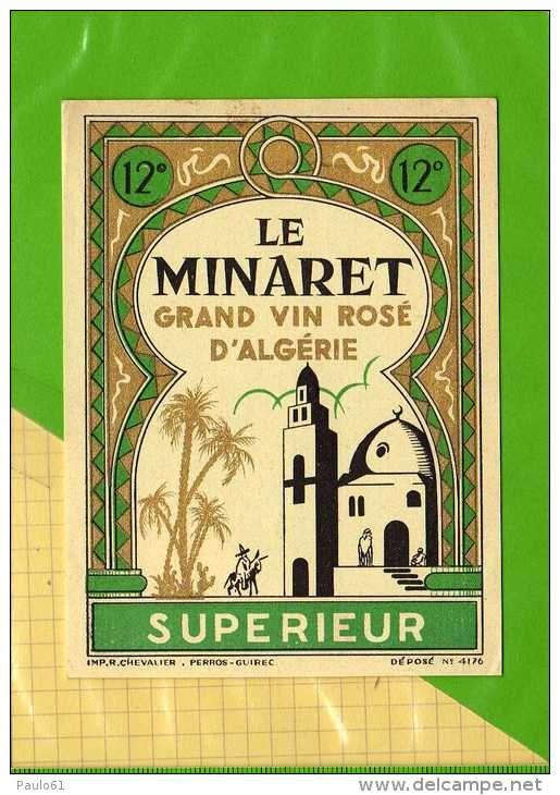 Etiquette Algerie LE MINARET Grand vin rosé d'Algerie