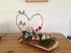 Geldgeschenk für die Hochzeit - mehr auf: fineart-z.de #geschenke #fineart #hochzeit #diy #selbstgemacht #mit liebe #geldgeschenk #herz # schmetterling