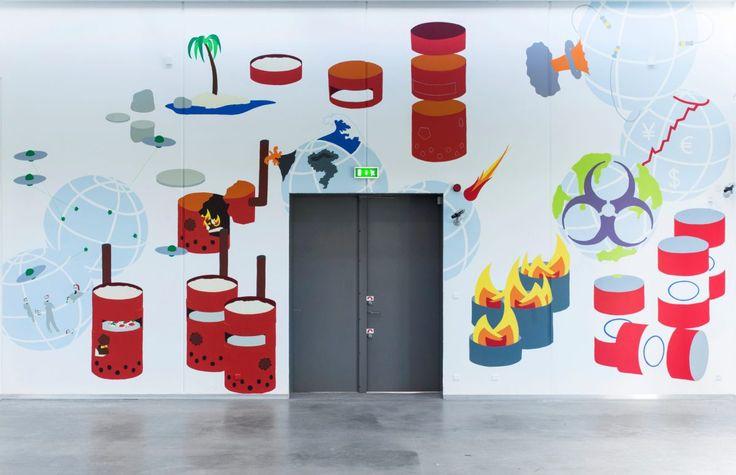 #illustration #pizza #doomday Vægmaleriet Post-Apokalyptisk Pizzeriavar med på gruppeudstillingen Alt Dette Er Dit på Vejle Kunstmuseum (2015). Hver kunstner fikfrie hænder, 50 m2 hvid væg og litervis af maling stillet til rå…