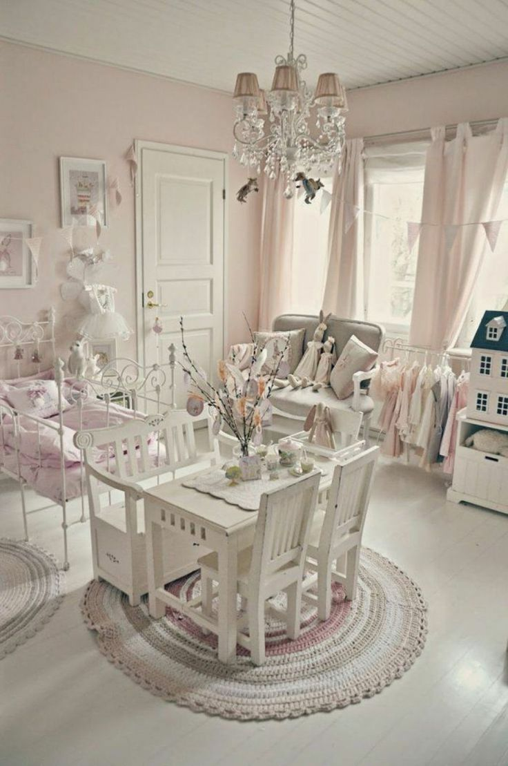 Little Girl Bedroom With Shabby Chic Wall Colors And Chandelier Beautiful Shabby Chic Wall Colors Check more at http://www.wearefound.com/beautiful-shabby-chic-wall-colors/