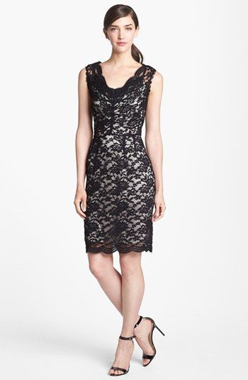 Calvin Klein V-Neck Lace Sheath Dress | Nordstrom