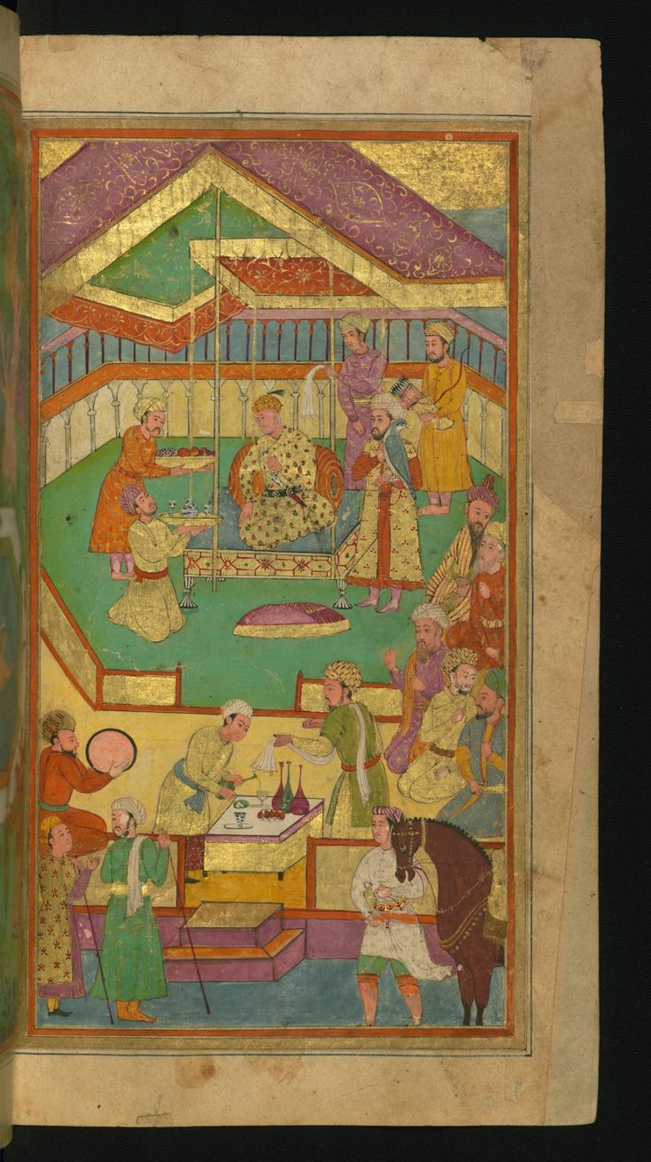 A Court Scene with Food and Music - Collection of Poems (masnavi). Walters manuscript W.626