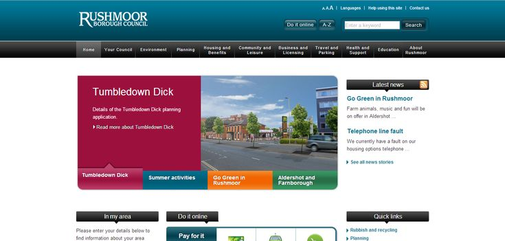 http://www.rushmoor.gov.uk/  - As the website that I am creating is an informative site suitable for all ages, where better to start than the local council's website.  This site will have good inspiration for:  • Layouts of image and text • Navigation bars/buttons • Footers • Search bars • Forms/Form features