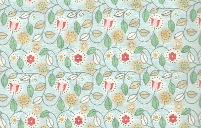 Fabric Finders - Coral, Khaki, Green Floral on Light Seafoam Broadcloth
