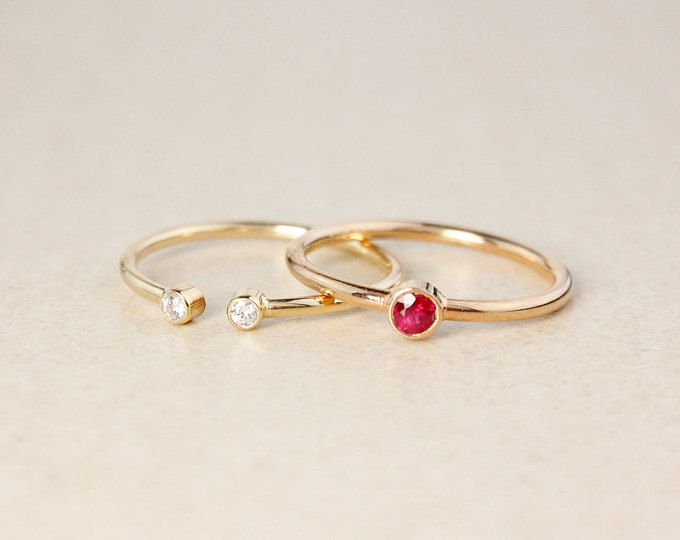 Stacked Red Ruby and Diamond Birthstone Rings - Gold, Rose Gold - Modern Wedding Ring Set
