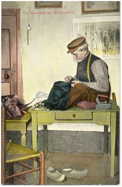 Het naaien van kleding door kleermaker Linden Nuss, Josephus Maria Hubertus (uitgever) -1906