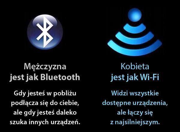 Męsko-damskie stereotypy, Bluetooth i Wi-Fi