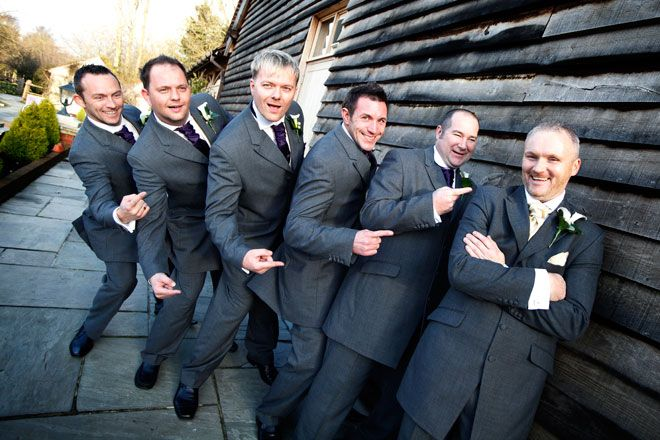 Groom and ushers having fun before the wedding at Rivervale Barn | www.allabouttheimage.co.uk