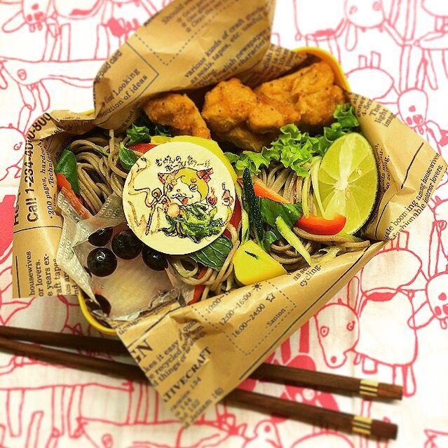 お蕎麦スキなお兄やんは喜んで持って行きました蕎麦つゆはスープジャーで別添えです  ⚫︎そばサラダ(ズッキーニ、パプリカ、マンゴー、ミント、バジル) ⚫︎鳥から揚げ ⚫︎ブルーベリー入こんにゃくゼリー - 76件のもぐもぐ - Healthy Soba noodle Salad lunch.  そばサラダランチ by Yuka Nakata