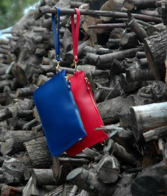 Mini envelopes!! Leather mini envelopes in blue & red! #viceversa