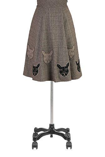 I <3 this Cats tweed check skirt from eShakti