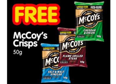 Free McCoys crisps from your local Premier store, printable voucher.