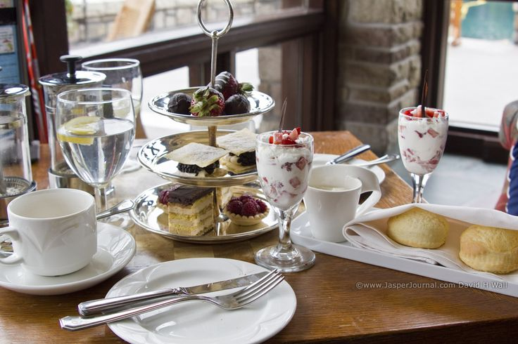 Afternoon tea at the Fairmont Jasper Park Lodge in Canada.