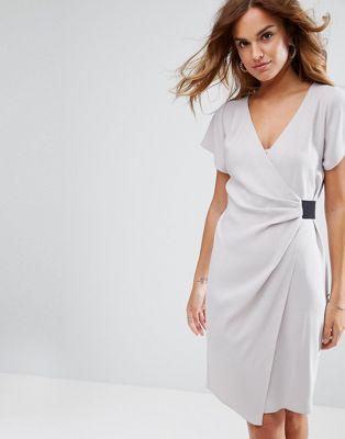 Платье-карандаш с драпировкой и эластичной деталью ASOS