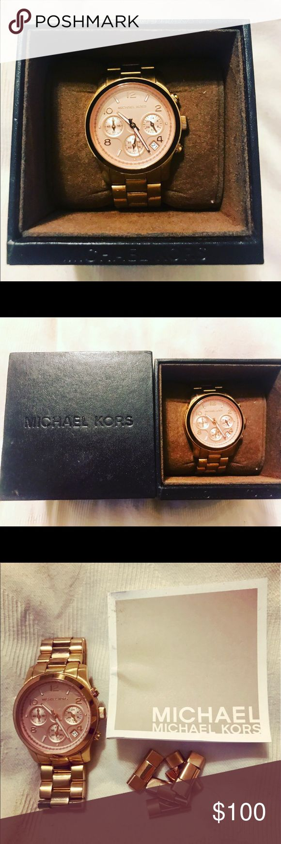 Michael Kors MK5430 Womens Ritz Rose Gold Watch. Used Michael Kors MK5430 Womens Runway Ritz Rose Gold Blush Tone Ladies Wrist Watch. PRICE IS FIRM.  Has normal wear and needs a new battery.  Comes with box and additional links. Michael Kors Accessories Watches