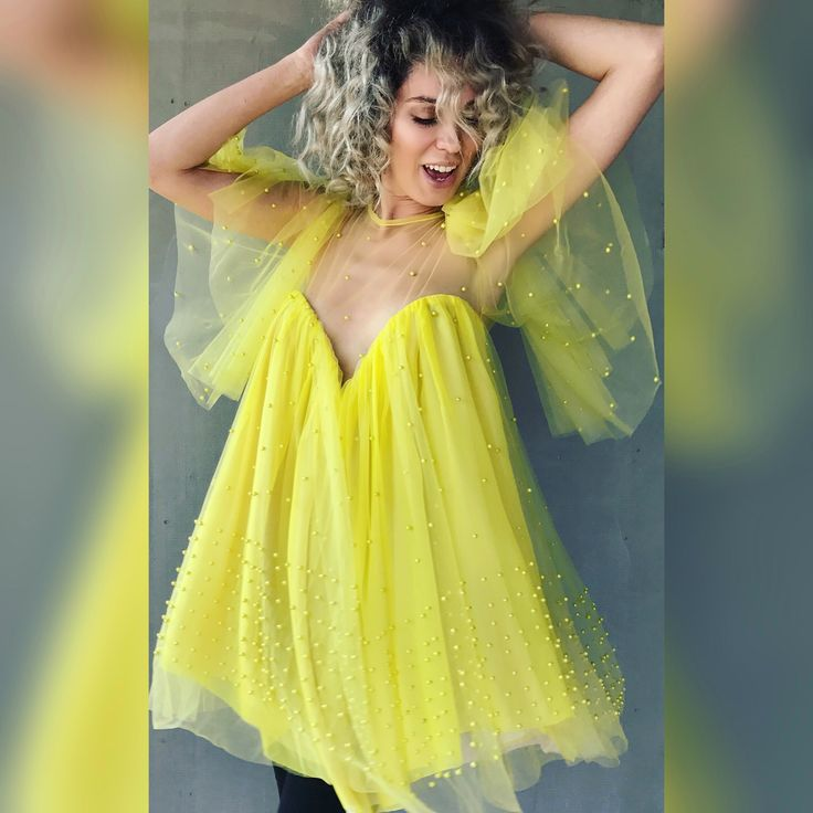 Yellow butterfly dress by Laura Ion /lemonade dress