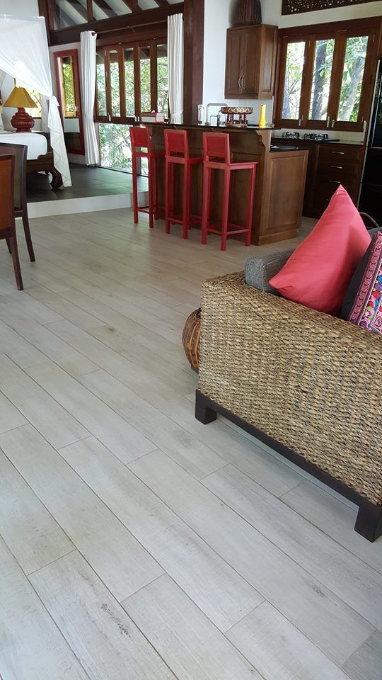 "In early December 2013 we visited Ko Jum Estate on Ko Sriboya, Krabi Province, to check out the installation of Imola Ceramica Wood 161W, size 165x1000mm ""wood"" porcelain. This must be the most wood-looking tile on the market today…..and with a tactile feel of wood too!"