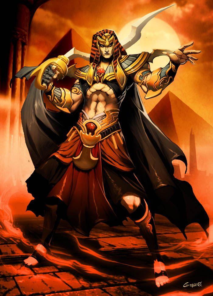 Mitología egipcia...el Faraón o Pharaon...su nombre significa dos cosas, La Gran Casa y El Hijo de Osiris...es considerado la encarnación humana de Osiris y es muy respetado...su voz es ley y tan solo era superado su poder por los sacerdotes de Osiris, a los que estaba obligado a escuchar, aunque la única decisión valida fuera la suya...también era el general de mas nivel de los ejércitos egipcios y al que prácticamente veneraba caso todo Egipto como Hijo de un Dios.