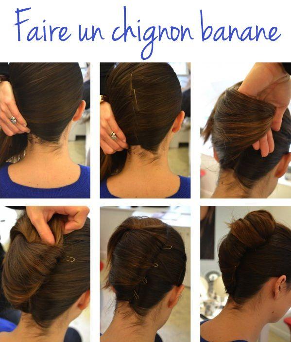 tutoriel coiffure chignon banane coiffure french twist