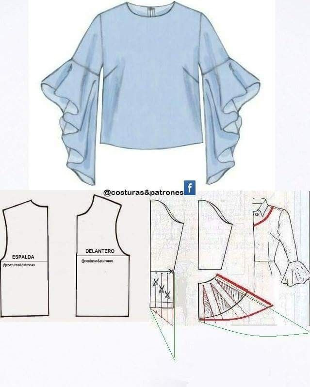 Blouse dgn lengan lonceng | Sew | Pinterest | Sewing, Sewing ...