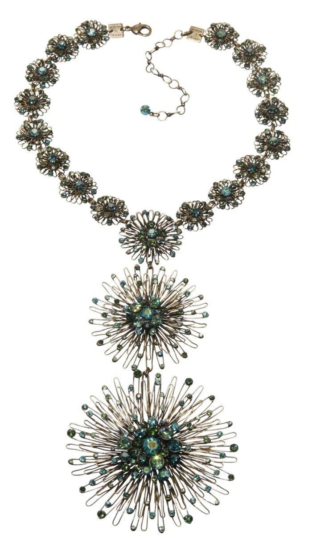 Halskette-Y Collier Distel grün