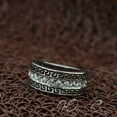 """Купить Кольцо """"Деметра II"""" кольца покрытые белым золотом, с греческим узором…"""
