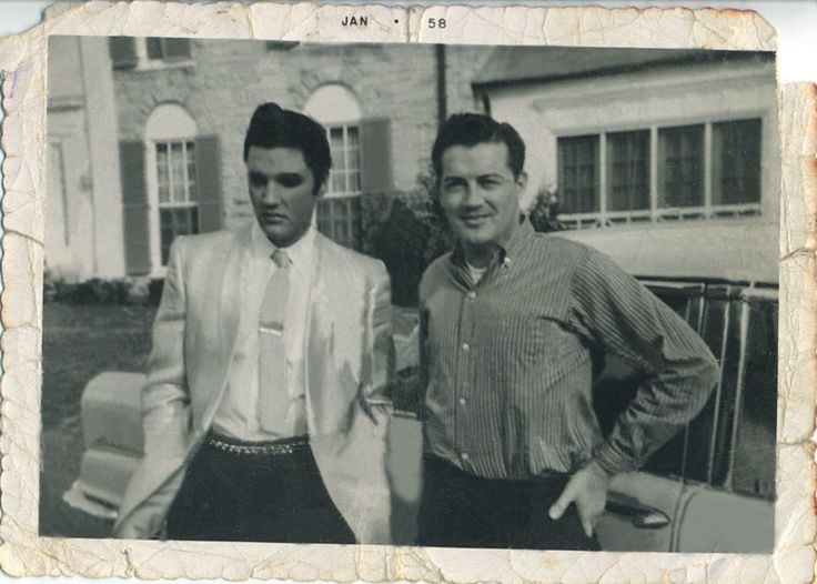 "Fall of 1958. On the driveway of Graceland, Memphis, TN./""Look at Elvis's long sideburns. This picture was taken at Graceland at the end of 1957. (Elvis was a Private in the army in the fall of 1958!)"" Tanja Graf' quote. Tks so much TG."