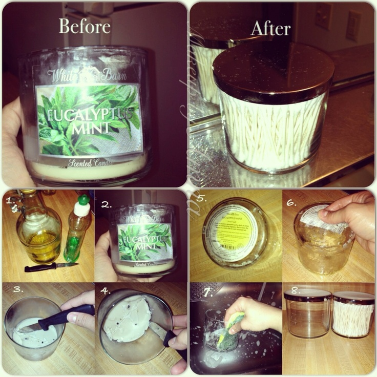 Recycle and reuse use candle glass jars for q tips - Put cotton ball trash can ...