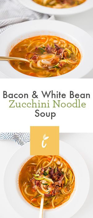Bacon and White Bean Zucchini Noodle Soup