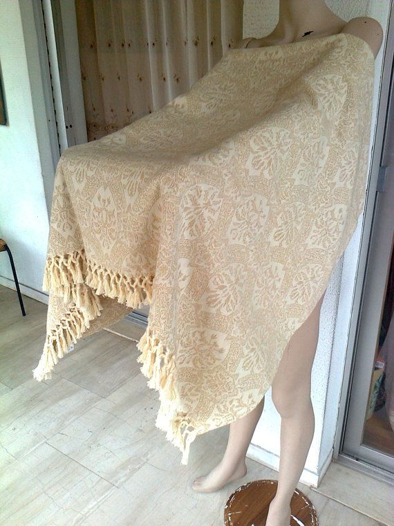 Vintage 90s tablecloth all cotton woven beige by Lionsoul on Etsy, €45.00 and now lower price 15 euros = 19,47 dollars off!!!