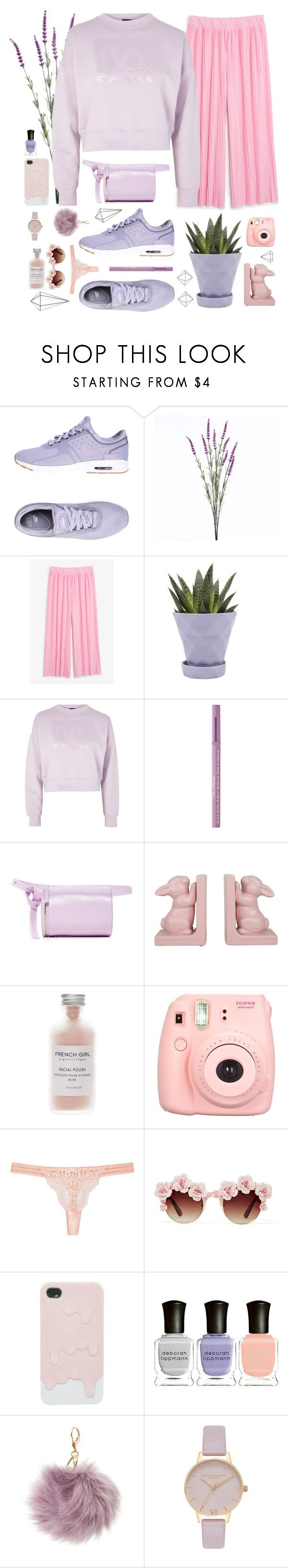 """Lilac&Pink"" by solespejismo on Polyvore featuring moda, NIKE, Wyld Home, Monki, Chive, Topshop, Too Faced Cosmetics, Building Block, French Girl y Fujifilm"