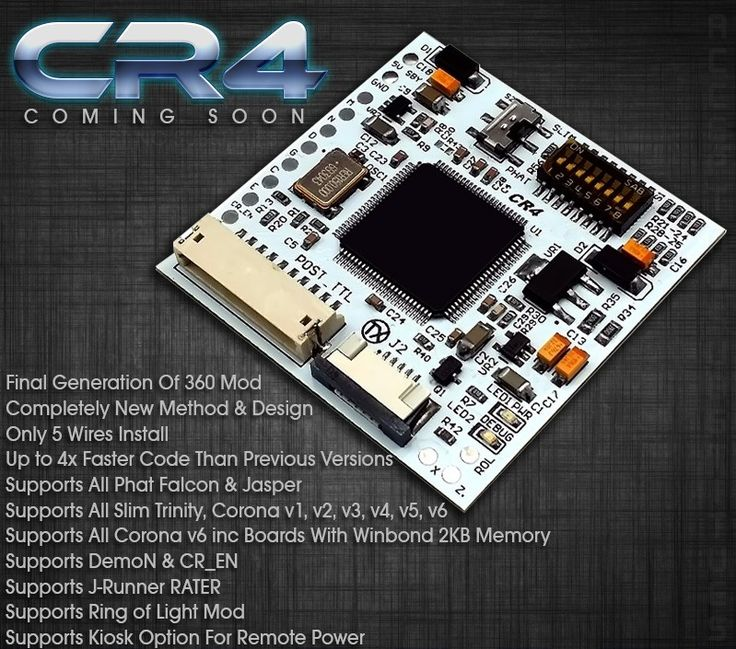 Xecuter CR4 XL CoolRunner, glitcher mod for XBox 360. 4x faster code than previous versions and booting is twice as fast as the fastest glitchers availabl. Very tiny design. Works with all Xbox 36: Slim models, Jaspers, Falcons. RGH2. Order it here: http://www.shop01media.com/en/xecuter-CR-4-XL