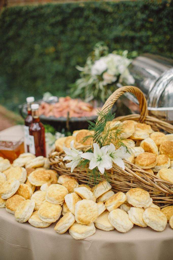Biscuit bar. Easy and inexpensive wedding food idea, plus love the cute basket display!
