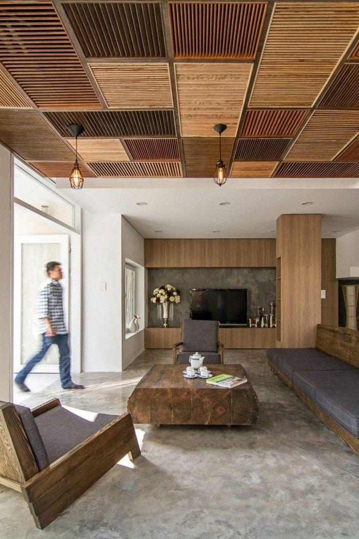 Nice einrichtungsideen coole zimmerdecke aus holz im wohnzimmer