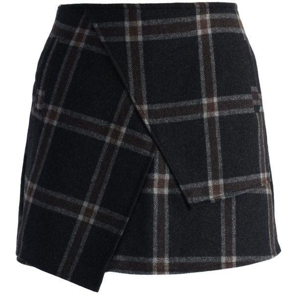 Chicwish Asymmetric Tartan Wool-blend Bud Skirt ($36) ❤ liked on Polyvore featuring skirts, bottoms, faldas, saias, black, panel skirt, tartan plaid skirt, black asymmetrical skirt, black skirt and asymmetrical skirt