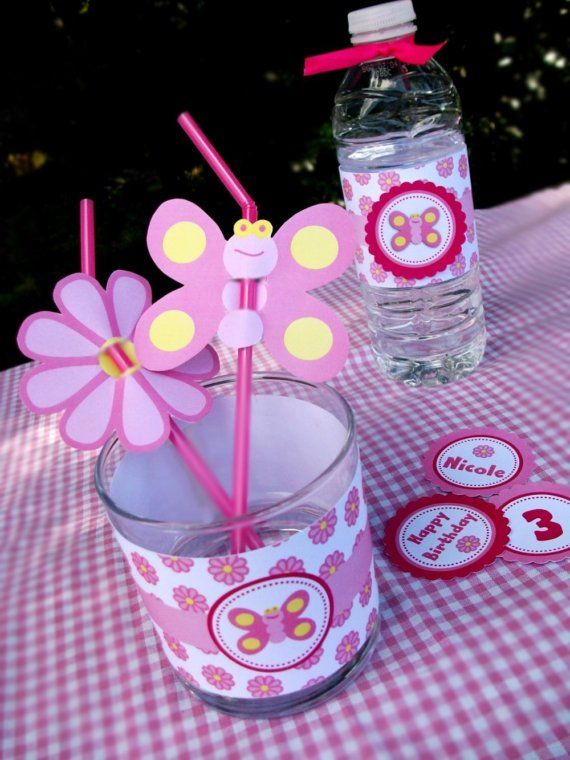 Custom Pink Garden Party Supplies - Personalized with NAME and AGE - Pink Garden Butterfly Party Collection