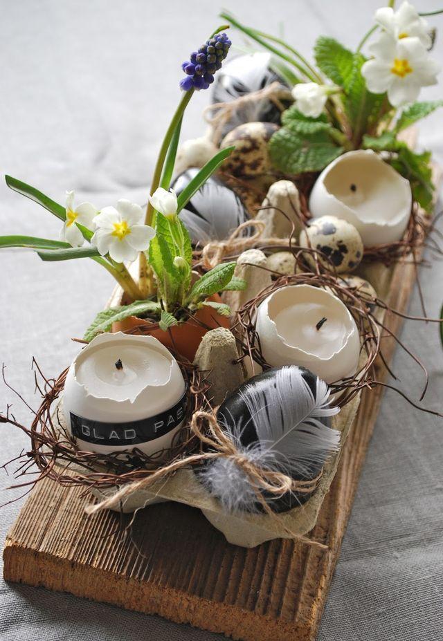 Eierschalen mit Wachs für Ostern